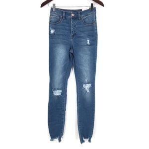 NEW Inc Denim Essex Super Skinny distressed mid high rise Jeans 2 26 women's